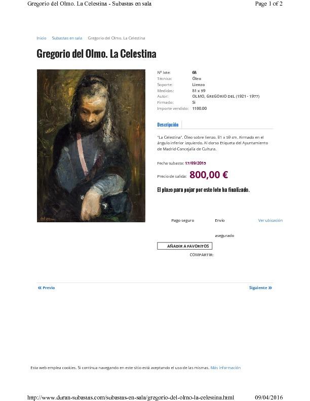 La Celestina, by del Olmo (2015 c.)