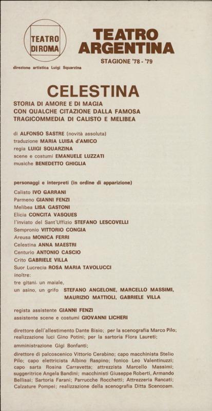 Representation of the Teatro Argentina, Rome, by Squarzina (1979)