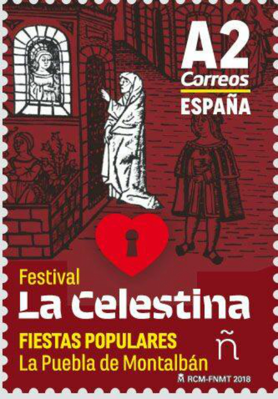 Postal stamp of the Festival La Celestina, by FNMT (2018)