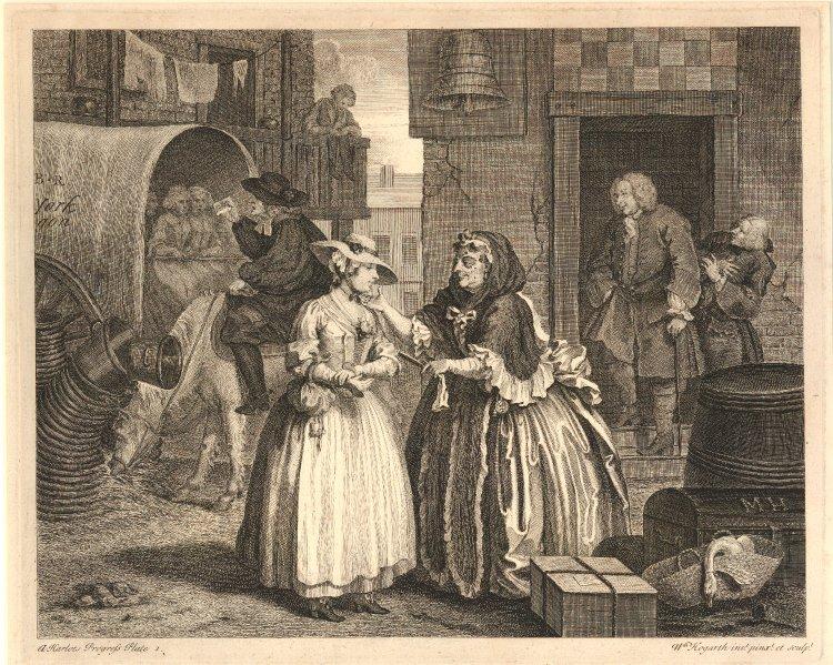 A Harlot's Progress (Carrera de una prostituta), print number one, by Hogarth, 1731.