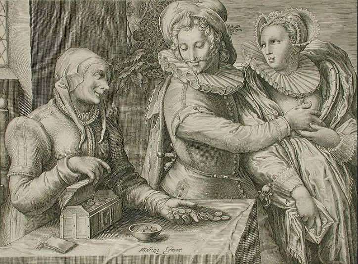 Man chooses a young woman, by Matham (1600 c.)