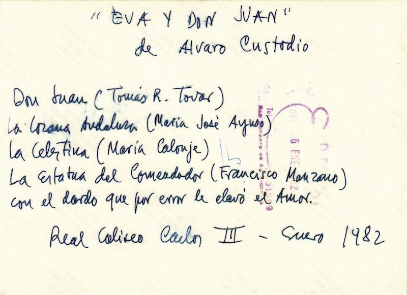 Representación de El Escorial, 1982.