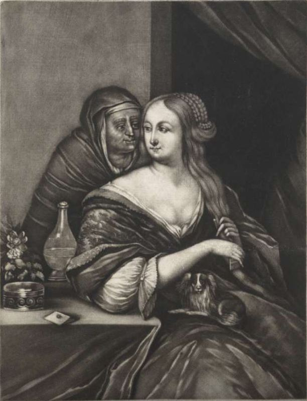 A young woman and a procuress, by Schenk (1690 c.)