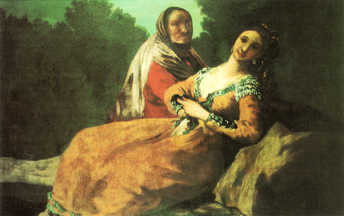 Young woman and old woman (Maja y vieja), by Goya (1780).