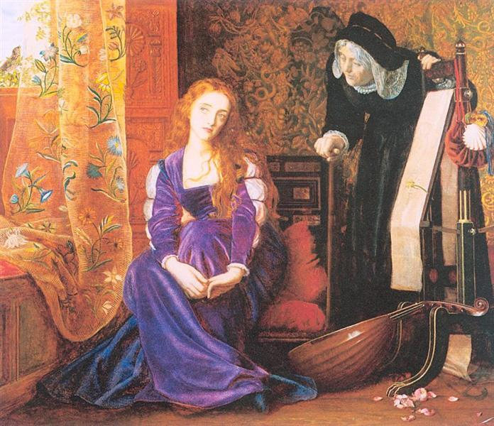 'The Pained Heart', or 'Sigh No More, Ladies', or 'Juliet and her Nurse, by Hughes (1867)'