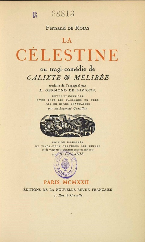 Cover the edition of La Nouvelle Revue Française, París (1922)