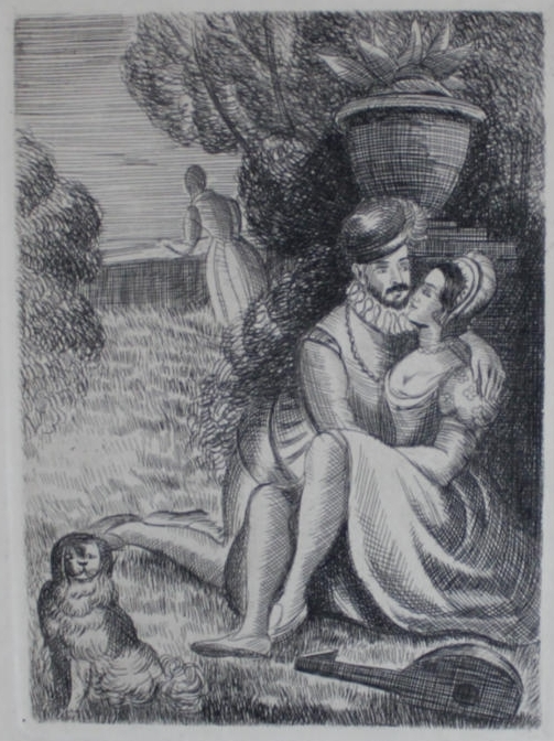 Engravings from the French adaptation of La Celestina, by Le Breton (1929)