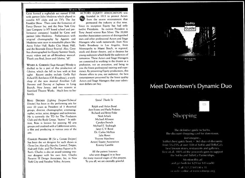 Celestina, a Tragic Music Comedy, by Bond, New York (1999)