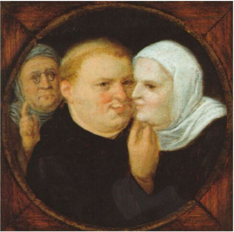 Monk with Nun and Procuress or Martin Luther and his Consort Katharina von Bora, by follower of Brughel (1600 c.)