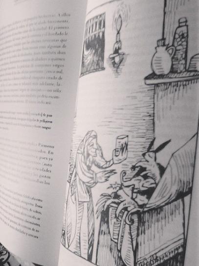 Illustration of Celestina's drugstore, by Mérida Jiménez (2004)