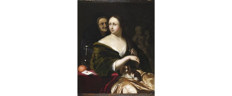 Woman with a Lapdog, Accompanied by a Maidservant , by Mieris (1660)