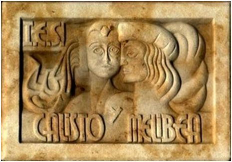 Stone relief of Calisto and Melibea, Calisto and Melibea Secondary School (2000 c.)