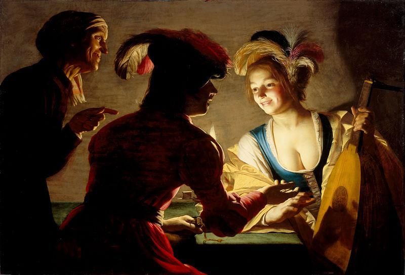 The Matchmaker (De koppelaarster), by Honthorst (1625).