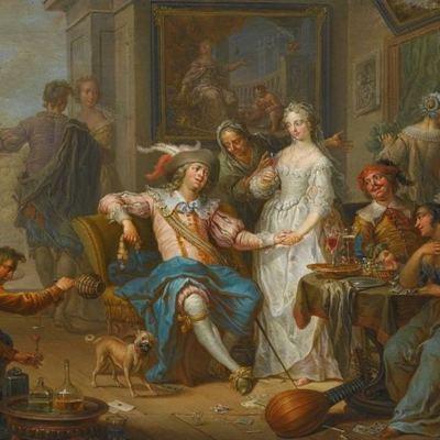 El hijo prodigo gastando su dinero en una vida desenfrenada, de Janneck (1732 c.)