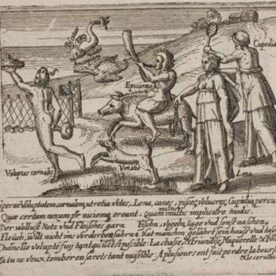 Illustration of the book Sperne Voluptatem annalem ut retia vites, Quae certam noxam per niciema ereant. Lena, canes, pisces volucres Cupidia, porcus Quam multos multis implicuere modis, by Bry (1614)