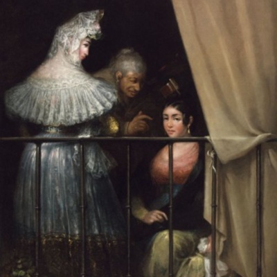 Young Women and Celestina on the Balcony (Majas y Celestina en el balcón), by Alenza y Nieto (1840 c.)