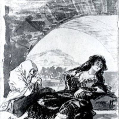 Maja and Celestina waiting under an arch, by Goya (1794, c.)