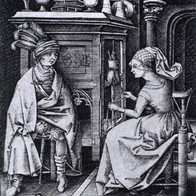 Visit to the Spinner, by Meckenem (1495, c.)