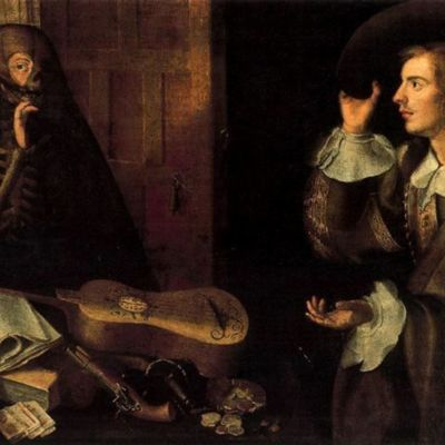 The Gentleman and Death, by Camprobín (1670, c.)