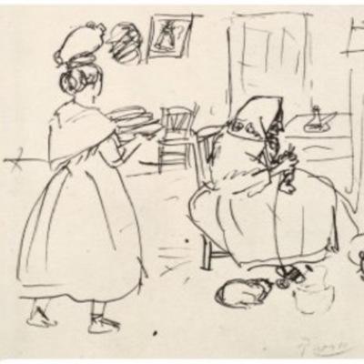 Celestina Weaving (Celestina tejiendo), by Picasso (1903)