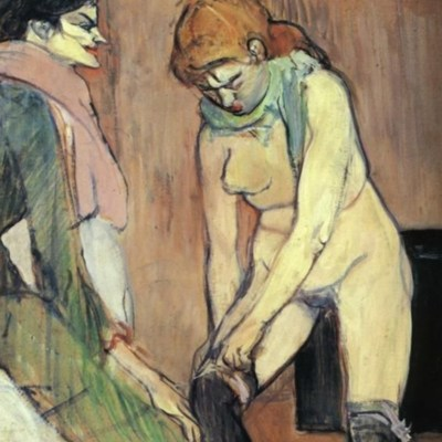 Woman Pulling Up Her Stocking, by Toulouse-Lautrec (1894)