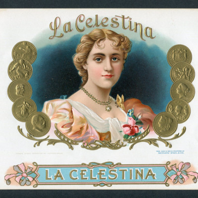 Cigar box label with lithograph of La Celestina (c. 1950)