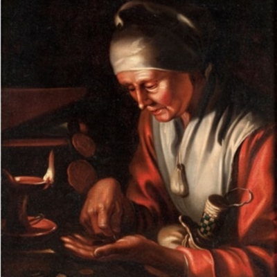 Old woman counting money (Allegory of avarice), by <br />
