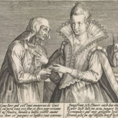 Illustration of an old woman giving a letter to a young woman, Passe ( 1600 c.)