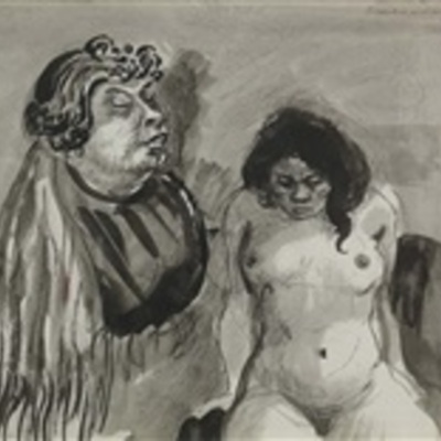 Procuress and whore, by Schürch (1918 c.)