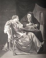 The Love Letter or the Fortune-Teller (El billete amoroso o la adivina), engraving based on Frans van Mieris (1635-1681).