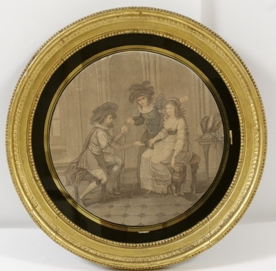 Plate painted with gallant scene and procuress, anonymous (c. 1700)