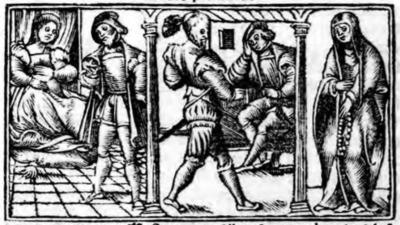 Illustration of act I from the Zaragoza edition (1545)