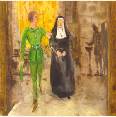 Celestina and Calisto at Church, by Acedo (2008 c.)