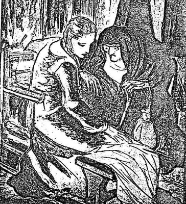 Illustration of Celestina convincing Melibea from the Barcelona edition (1948)