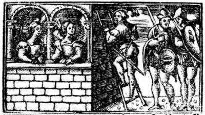 First illustration of act XIX from the Zaragoza edition (1545)