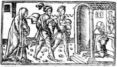 Illustration of act XI from the Zaragoza edition (1545)