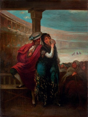 Two majos, by Lucas Velázquez (1842)