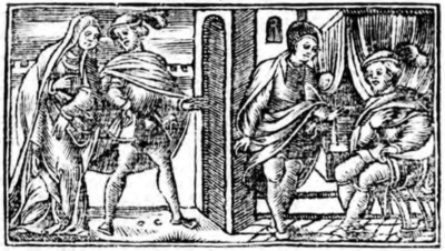 Illustration of act V from the Zaragoza edition (1545)