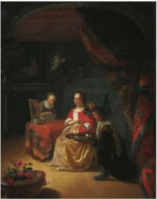 Procuress with a Young Couple in a Room, by Schalken (1674 c.)