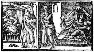 First illustration of act XX from the Zaragoza edition (1545)