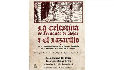 Poster of editions of La Celestina and Lazarillo, Academia Mexicana (2018)