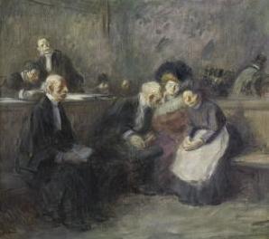 Una escena en las cortes de la ley, de Forain (1900(c))