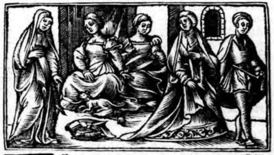 Illustration of act IV from the Zaragoza edition (1545)