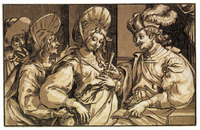 The Matchmaker (Die Kupplerin), engraving by Businck (XVII century) based on the painting by Lallemand.