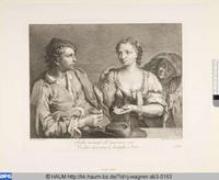 Young Couple and Matchmaker (Pareja de jovenes y alcahueta), engraving (1739-1780) based on Francesco Maggioto's painting (1738-1805).
