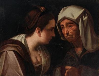 Courtesan and Procuress, by Lama (1720 c. )