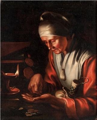 Anciana contando dinero (Alegoría de la avaricia), de la Escuela de Gerrit van Honthorst (1633 c.)
