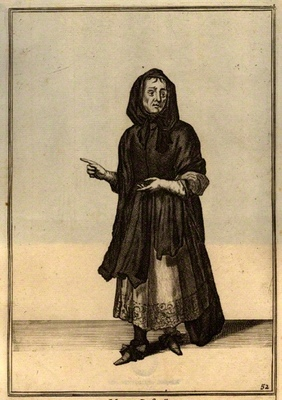 Engraving of the English procuress Elizabeth Creswell, by Laroon (1675)