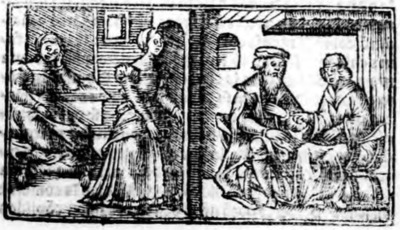 Illustration of act XVI from the Zaragoza edition (1545)