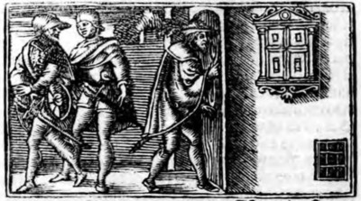 First illustration of act XII from the Zaragoza edition (1545)